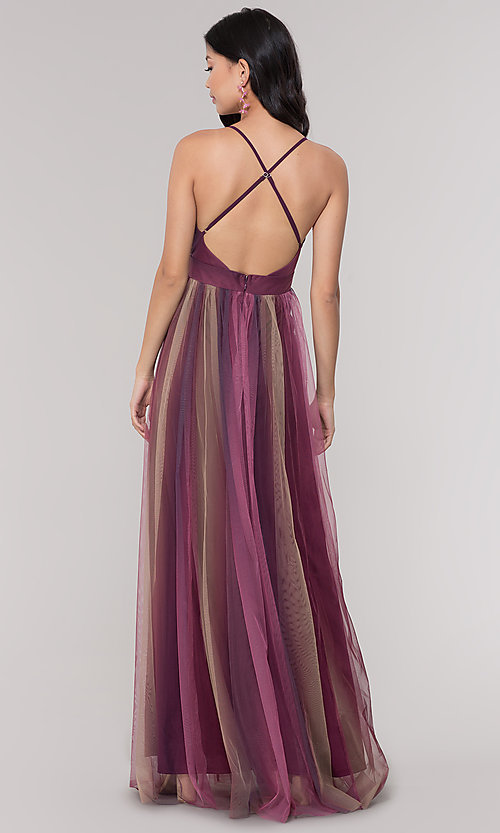 Image of long striped tulle v-neck prom dress. Style: LUX-LD5021 Detail Image 4