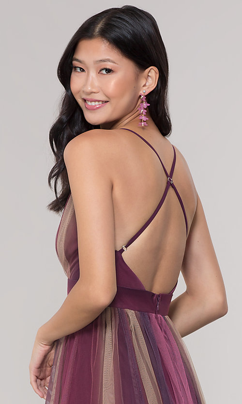 Image of long striped tulle v-neck prom dress. Style: LUX-LD5021 Detail Image 2