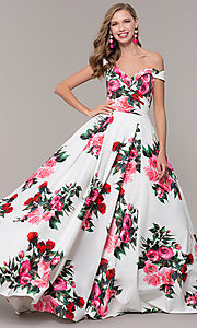 Image of floral-print off-shoulder JVN by Jovani prom dress. Style: JO-JVN-JVN65965 Front Image