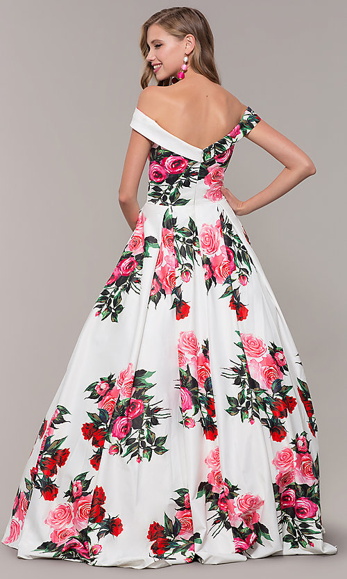 Image of floral-print off-shoulder JVN by Jovani prom dress. Style: JO-JVN-JVN65965 Back Image