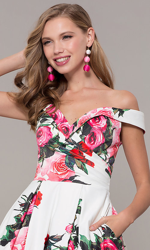 Image of floral-print off-shoulder JVN by Jovani prom dress. Style: JO-JVN-JVN65965 Detail Image 1