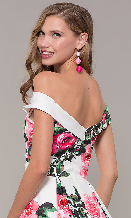 Image of floral-print off-shoulder JVN by Jovani prom dress. Style: JO-JVN-JVN65965 Detail Image 2