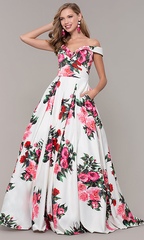 Image of floral-print off-shoulder JVN by Jovani prom dress. Style: JO-JVN-JVN65965 Detail Image 3