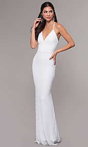 Image of long v-neck sequin-pattern prom dress by PromGirl. Style: MCR-PL-2656 Detail Image 2