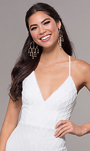 Image of long v-neck sequin-pattern prom dress by PromGirl. Style: MCR-PL-2656 Detail Image 4