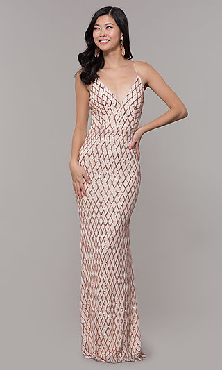 Long V-Neck Sequin-Pattern Prom Dress by PromGirl