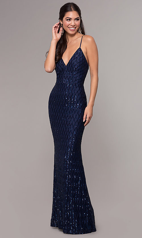 Image of long v-neck sequin-pattern prom dress by PromGirl. Style: MCR-PL-2656 Front Image