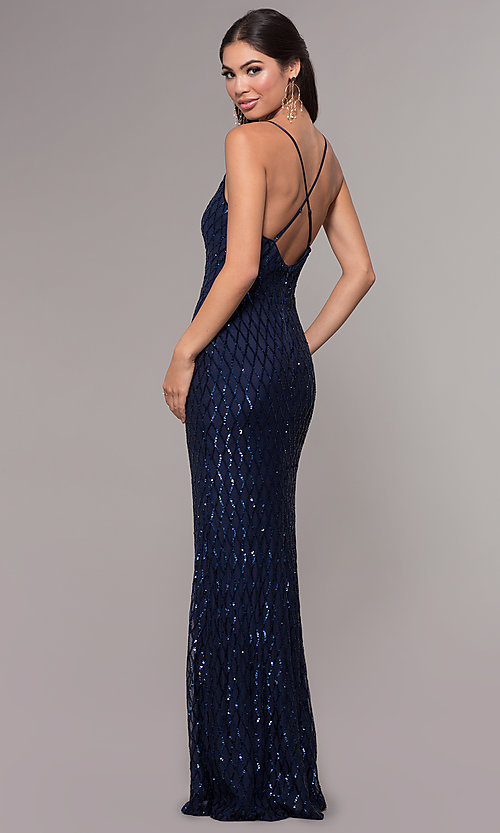 Image of long v-neck sequin-pattern prom dress by PromGirl. Style: MCR-PL-2656 Back Image