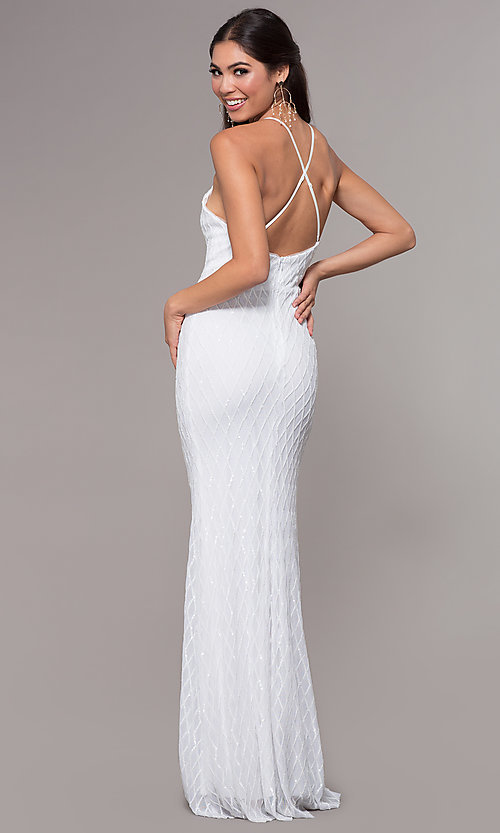 Image of long v-neck sequin-pattern prom dress by PromGirl. Style: MCR-PL-2656 Detail Image 3