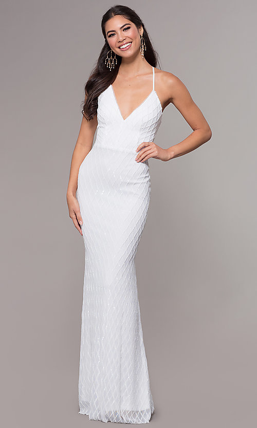 Image of long v-neck sequin-pattern prom dress by PromGirl. Style: MCR-PL-2656 Detail Image 6