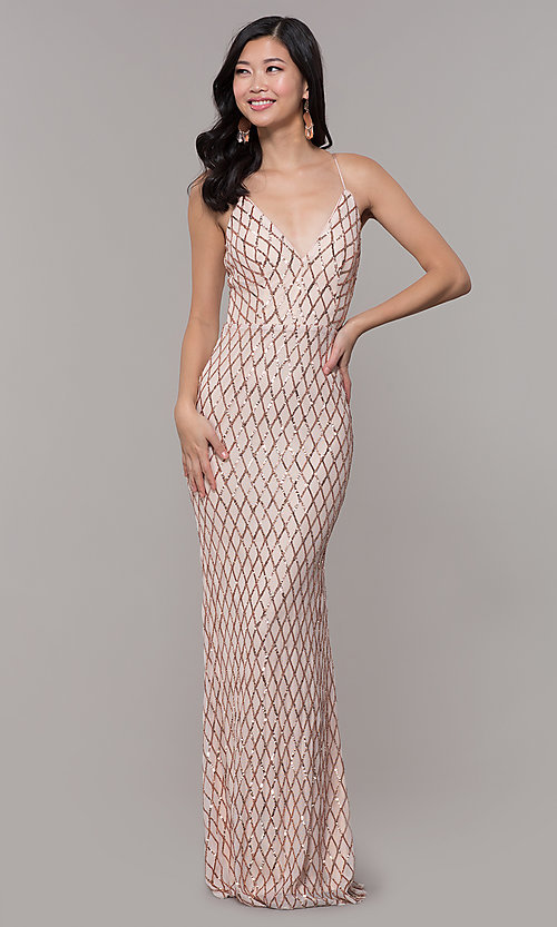 Image of long v-neck sequin-pattern prom dress by PromGirl. Style: MCR-PL-2656 Detail Image 7