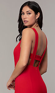 Image of long mermaid v-neck prom dress by Simply. Style: MCR-SD-2650 Detail Image 7