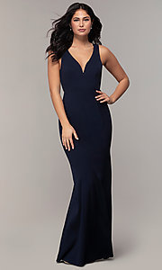 Image of long mermaid v-neck prom dress by Simply. Style: MCR-SD-2650 Detail Image 3
