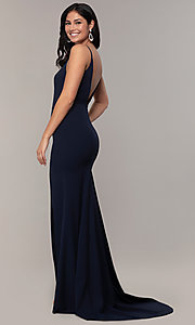 Image of criss-cross-front v-neck navy prom dress by Simply. Style: MCR-SD-2647 Back Image
