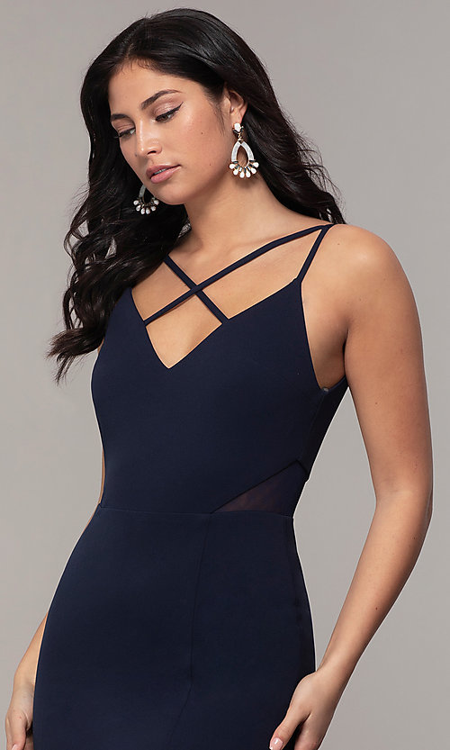 Image of criss-cross-front v-neck navy prom dress by Simply. Style: MCR-SD-2647 Detail Image 1
