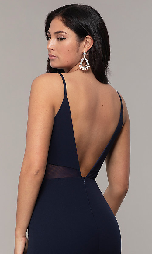Image of criss-cross-front v-neck navy prom dress by Simply. Style: MCR-SD-2647 Detail Image 2
