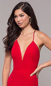 Image of corset-tie long v-neck prom dress by Simply. Style: MCR-SD-2662 Detail Image 6