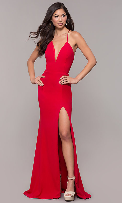 Image of corset-tie long v-neck prom dress by Simply. Style: MCR-SD-2662 Detail Image 4