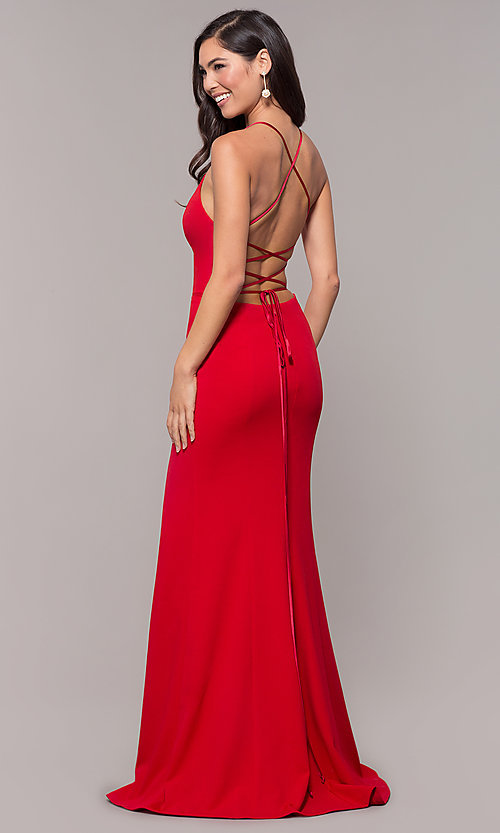Image of corset-tie long v-neck prom dress by Simply. Style: MCR-SD-2662 Detail Image 5