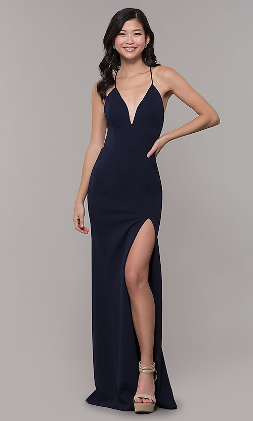 Image of corset-tie long v-neck prom dress by Simply. Style: MCR-SD-2662 Detail Image 3