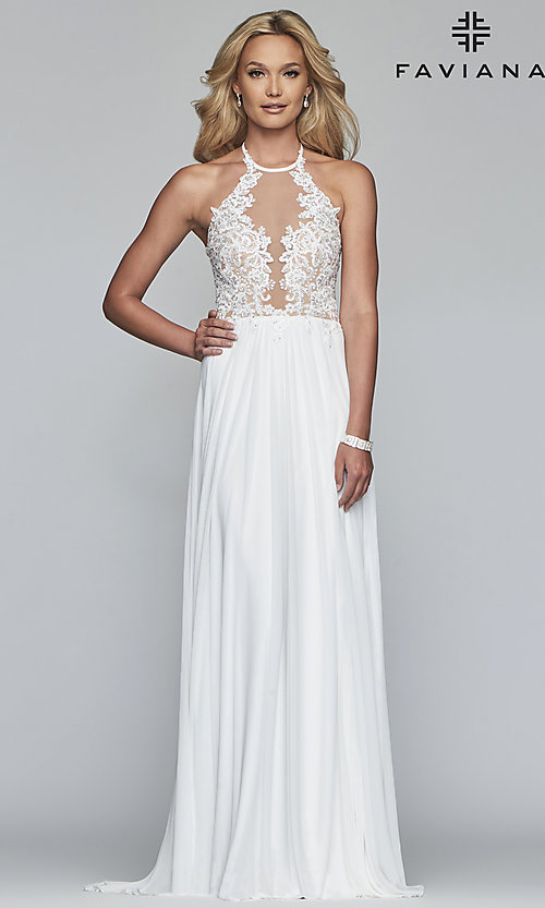 Image of long high-neck prom dress with lace-up back. Style: FA-S10203 Front Image