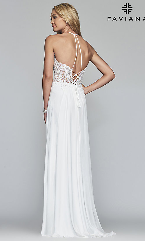 Image of long high-neck prom dress with lace-up back. Style: FA-S10203 Back Image