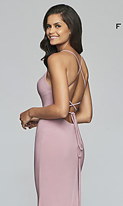 Image of scoop-neck open-back prom dress by Faviana. Style: FA-S10205 Detail Image 2