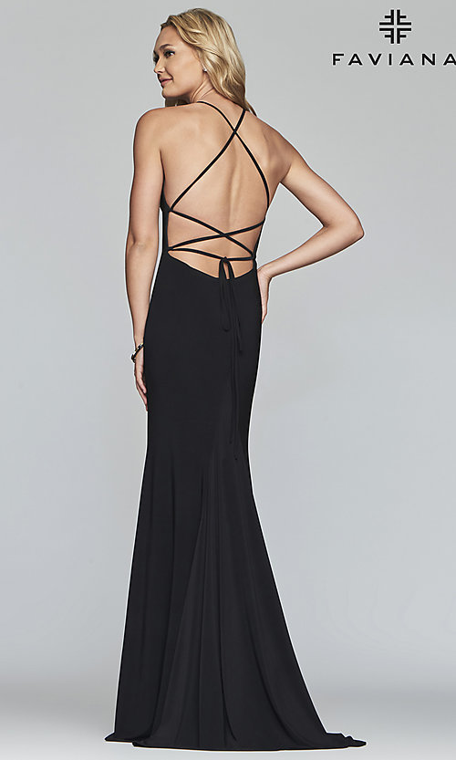 Image of scoop-neck open-back prom dress by Faviana. Style: FA-S10205 Detail Image 6