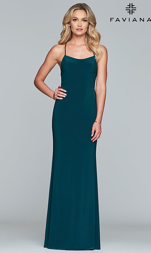 Image of scoop-neck open-back prom dress by Faviana. Style: FA-S10205 Detail Image 7