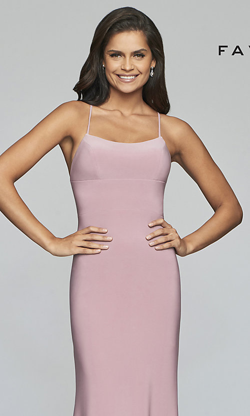 Image of scoop-neck open-back prom dress by Faviana. Style: FA-S10205 Detail Image 1