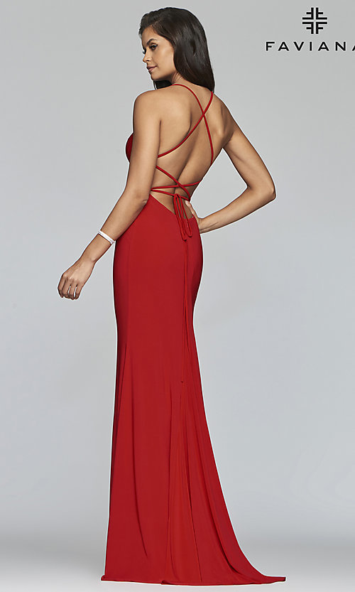 Image of scoop-neck open-back prom dress by Faviana. Style: FA-S10205 Front Image