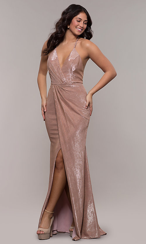 Image of long metallic v-neck prom dress by Faviana.  Style: FA-S10215 Detail Image 3