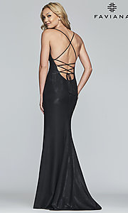 Image of long open-back metallic prom dress. Style: FA-S10218 Detail Image 6