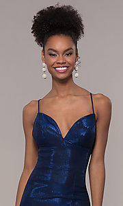 Image of long open-back metallic prom dress. Style: FA-S10218 Detail Image 1