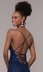 Image of long open-back metallic prom dress. Style: FA-S10218 Detail Image 2