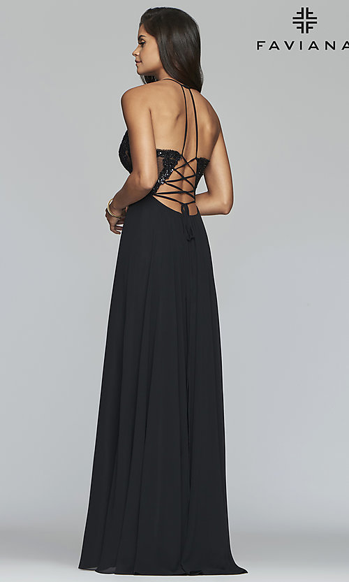 Image of long chiffon corset prom dress with sheer bodice. Style: FA-S10228 Detail Image 4