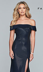 Image of metallic off-the-shoulder prom dress by Faviana. Style: FA-S10216 Detail Image 1