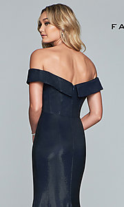 Image of metallic off-the-shoulder prom dress by Faviana. Style: FA-S10216 Detail Image 2