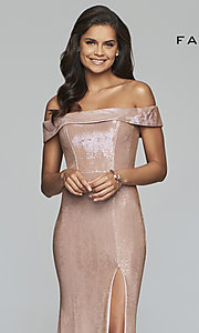 Image of metallic off-the-shoulder prom dress by Faviana. Style: FA-S10216 Detail Image 6