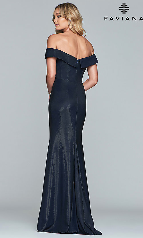 Image of metallic off-the-shoulder prom dress by Faviana. Style: FA-S10216 Back Image