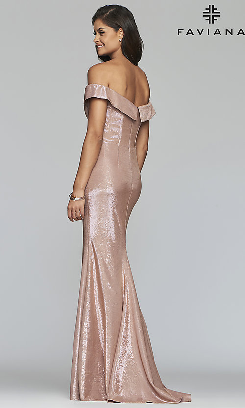 Image of metallic off-the-shoulder prom dress by Faviana. Style: FA-S10216 Detail Image 5