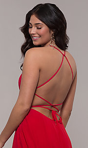 Image of long a-line straight-neck Faviana prom dress. Style: FA-S10233 Detail Image 2