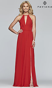 Image of long high-neck chiffon prom dress with bow. Style: FA-S10235 Detail Image 4