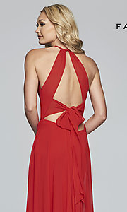 Image of long high-neck chiffon prom dress with bow. Style: FA-S10235 Detail Image 7