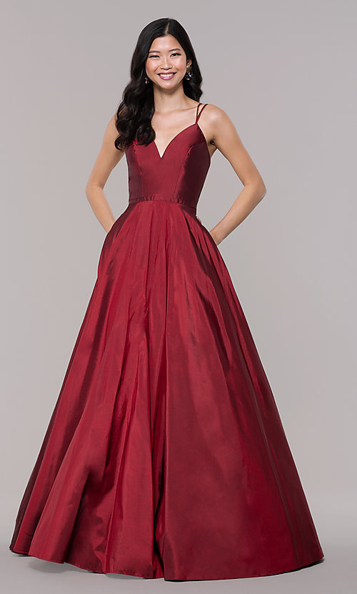Image of a-line v-neck sleeveless prom dress with pockets. Style: FA-S10249 Detail Image 4