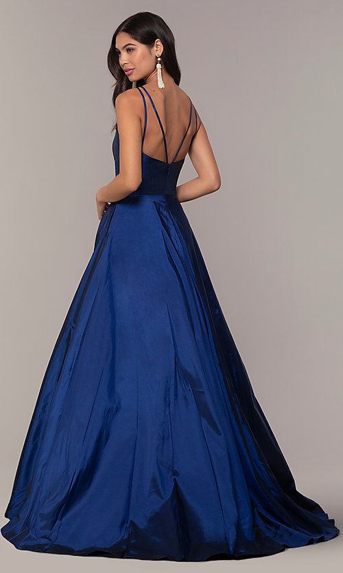 Image of a-line v-neck sleeveless prom dress with pockets. Style: FA-S10249 Back Image