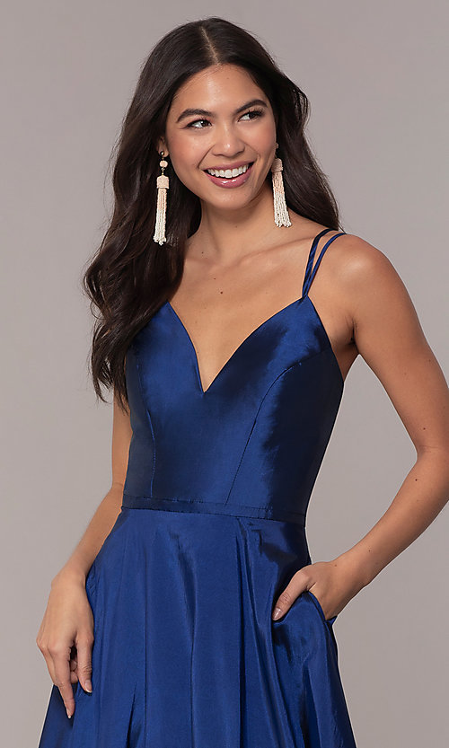 Image of a-line v-neck sleeveless prom dress with pockets. Style: FA-S10249 Detail Image 1