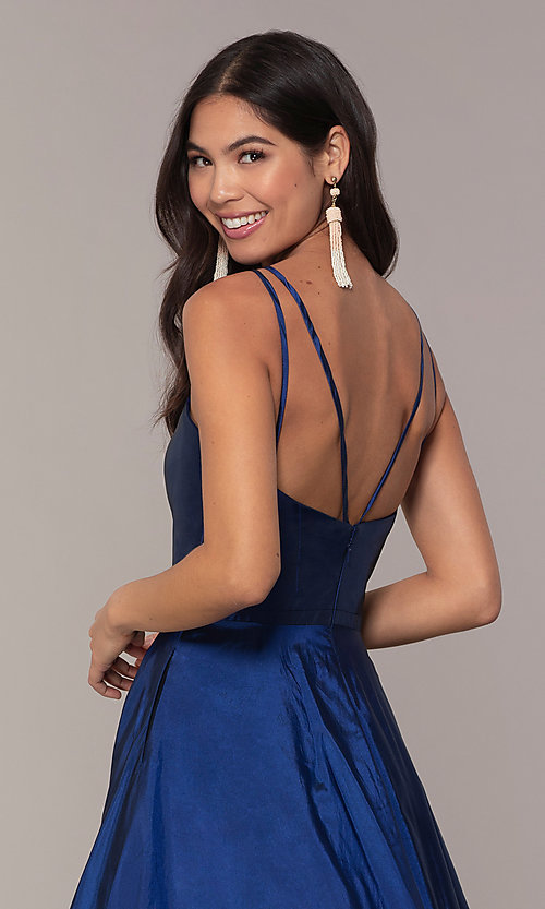 Image of a-line v-neck sleeveless prom dress with pockets. Style: FA-S10249 Detail Image 2