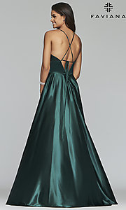 Image of long a-line open-back prom dress with v-neckline. Style: FA-S10255 Back Image