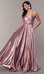 Image of long a-line open-back prom dress with v-neckline. Style: FA-S10255 Detail Image 1
